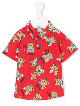 Moschino Kids - teddy print shirt - Kinder - Cotton/Spandex/Elastane - 12-18 mth - Red