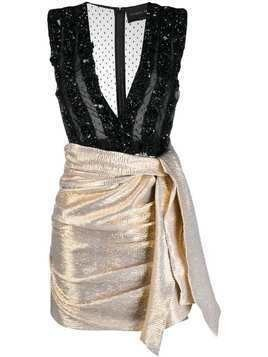Christian Pellizzari deep V-neck dress - Gold