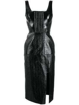 David Koma coated bouclé midi dress - Black