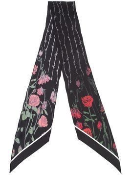 Rockins Roses printed skinny scarf - Black
