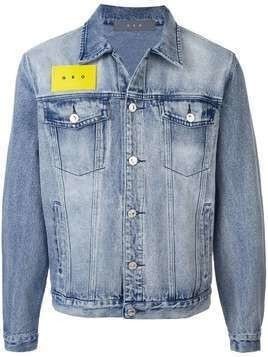 Geo logo stonewashed denim jacket - Blue