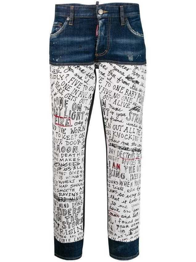 Dsquared2 handwriting print jeans - Blue