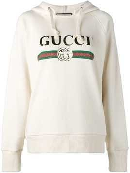 Gucci 'Fake' Gucci embroidered hoodie - Neutrals