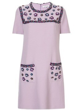 Andrew Gn rhinestone shift dress - Purple