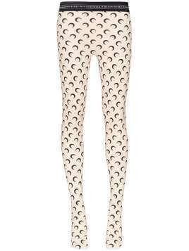 Marine Serre All-over Moon logo jersey leggings - Neutrals