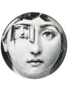 Fornasetti face print coaster - Black