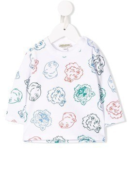 Kenzo Kids cat pattern logo top - White