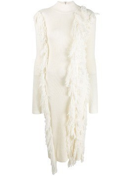 David Koma fringed sweater dress - White