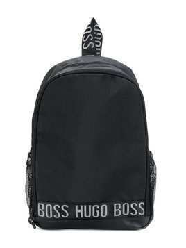 Boss Kids logo tape backpack - Black