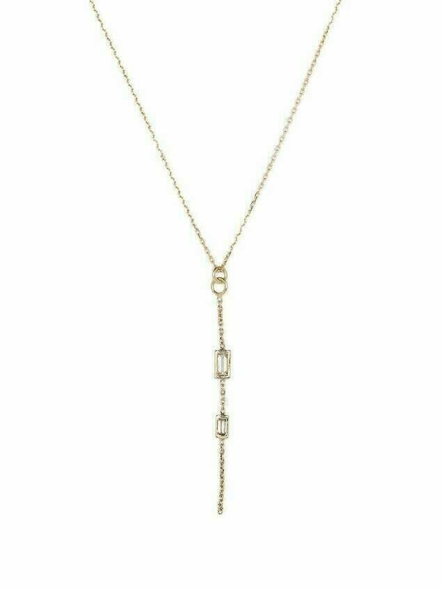 Metier by Tom Foolery 9kt yellow gold baguette diamond chain necklace