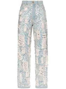 Ashish sequin embellished ripped boyfriend jeans - Metallic