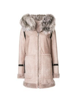 Urbancode faux fur trim hooded coat - Nude&Neutrals
