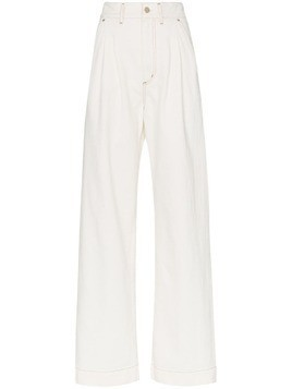 Goldsign the wide leg pleat front trousers - White