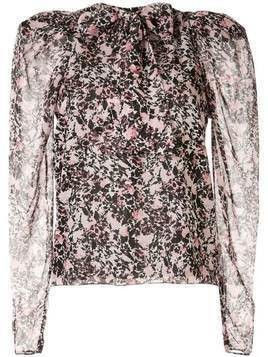 Giambattista Valli floral pussy-bow blouse - Pink