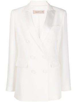 Blanca Vita double-breasted peak lapel suit jacket - White