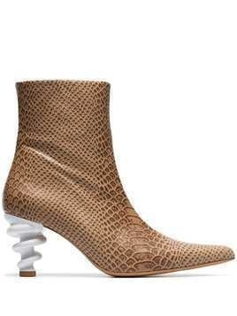 Kalda brown Island 70 twisted heel snake-effect leather boots - Neutrals