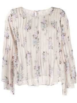 Love Shack Fancy floral silk blouse - PURPLE