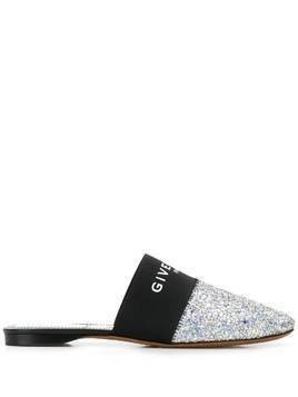 Givenchy sequinned logo print slippers - Silver