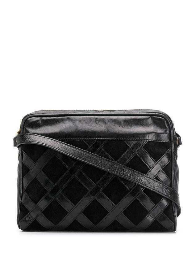 Yves Saint Laurent Pre-Owned 1970's crisscross panelled shoulder bag - Black
