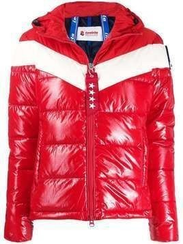Invicta color-block hooded puffer jacket - Red