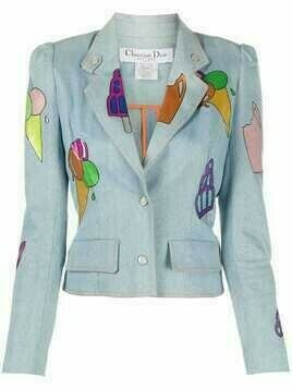 Christian Dior pre-owned ice cream print denim jacket - Blue