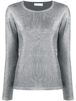 Majestic Filatures long-sleeve metallic jumper - SILVER