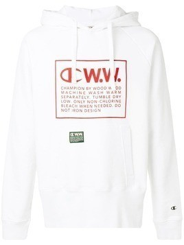 Champion X Wood Wood logo printed hoodie - White