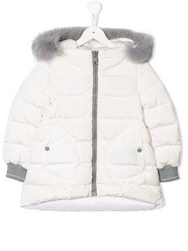 Herno Kids fur-trimmed puffer jacket - White