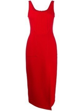 David Koma thigh slit midi dress - Red