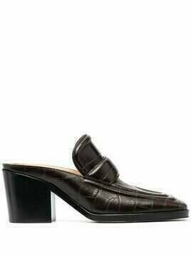 Bottega Veneta croc-effect square-toe mules - Brown