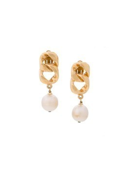 Chanel Vintage swing chain pearl earrings - Metallic
