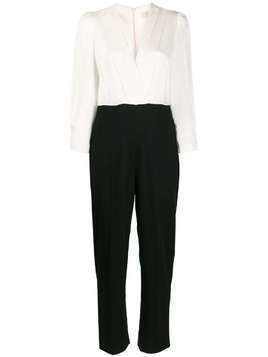 Sandro Paris contrast long-sleeve jumpsuit - White