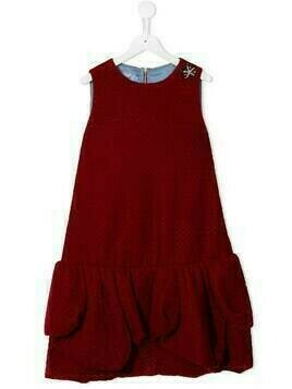 Mi Mi Sol TEEN ruffle hem velvet dress - Red