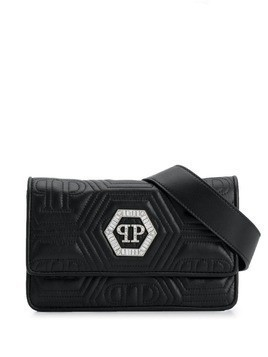 Philipp Plein crystal logo shoulder bag - Black