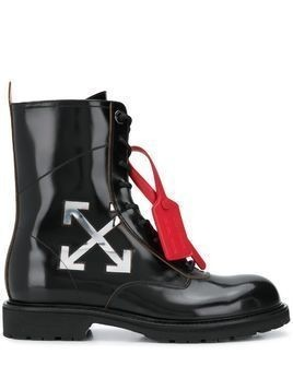 Off-White arrow logo combat boots - Black