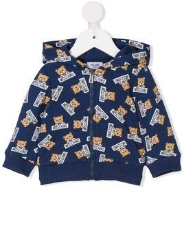 Moschino Kids teddy bear print hooded sweatshirt - Blue