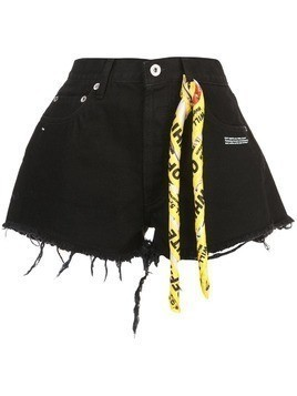 Off-White twisted scarf detailed denim shorts - Black