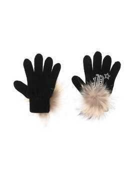 Philipp Plein Junior pompom embellished gloves - Black