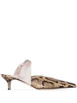 Gia Couture Bandana Girl 55mm snake-effect pumps - Grey