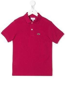 Lacoste Kids embroidered logo polo shirt - PINK