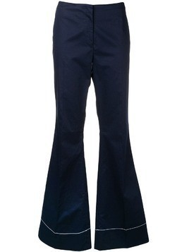 By Malene Birger stitch detail flared trousers - Blue