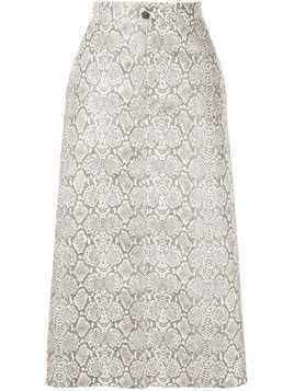 Georgia Alice snakeskin print skirt - White