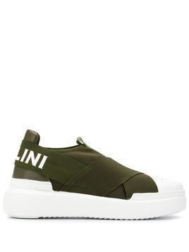 Pollini cross-strap slip-on trainers - Green