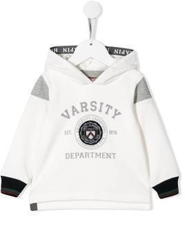 Lapin House varsity-style print hoodie - White