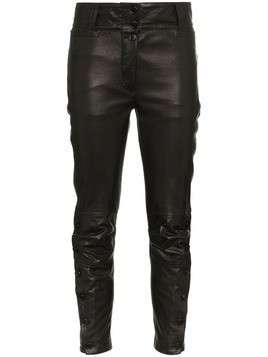 Ann Demeulemeester mid rise cropped leather trousers - Black