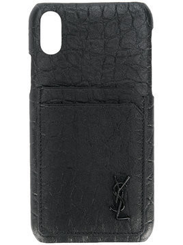 Saint Laurent crocodile effect iPhone 10 case - Black