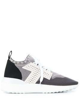 Tod's side T monogram knit sneakers - Grey