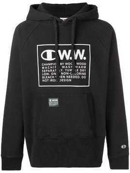 Champion X Wood Wood logo printed hoodie - Black