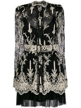 Alexis fitted scalloped lace detail dress - Black