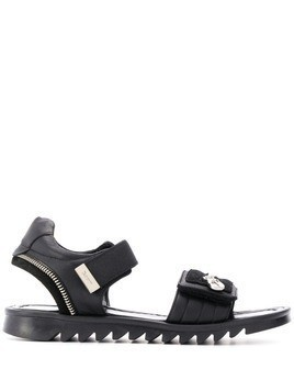 Cesare Paciotti Kids TEEN zip detail sandals - Black